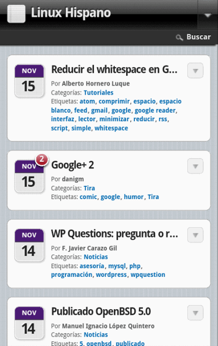 Linux Hispano versión móvil con WPtouch