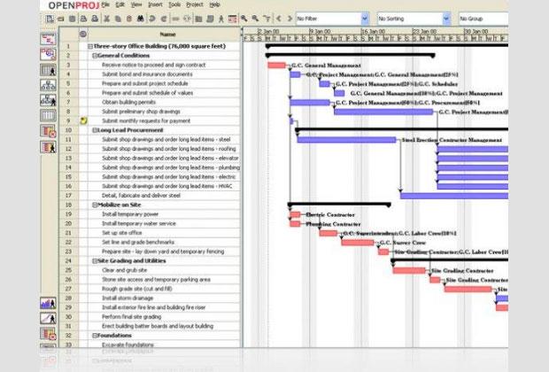 OpenProj screenshot