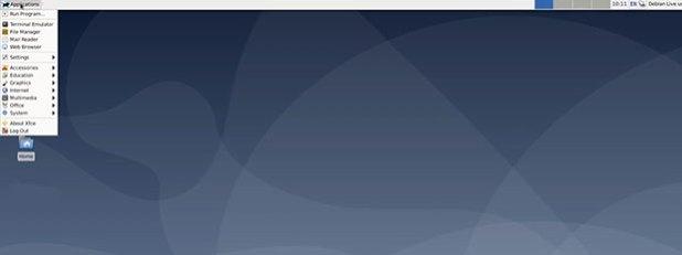 Debian 10 Buster Xfce desktop layout