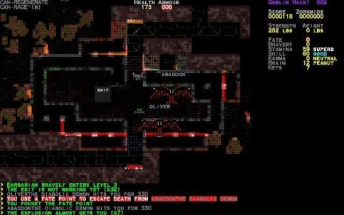 Goblin Hack - smooth-scrolling ASCII graphics adventure game