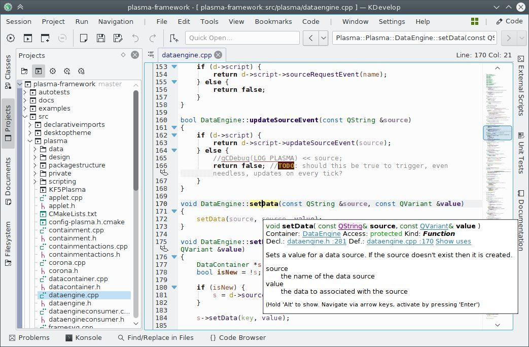 KDevelop - cross-platform IDE for C, C++, Python, QML/JavaScript and
