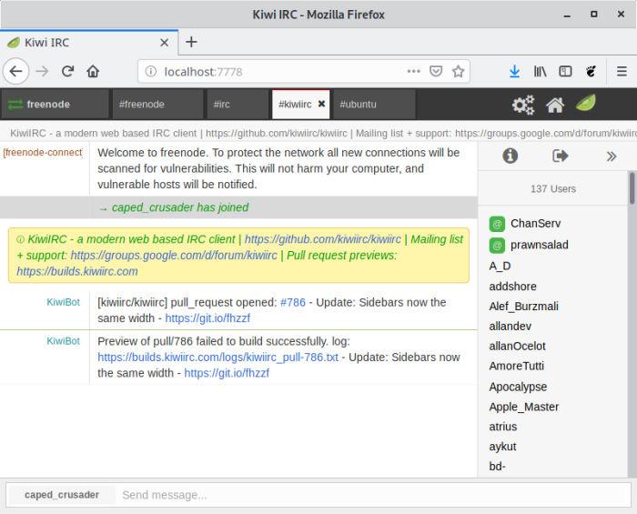 Kiwi IRC - web based IRC client - LinuxLinks