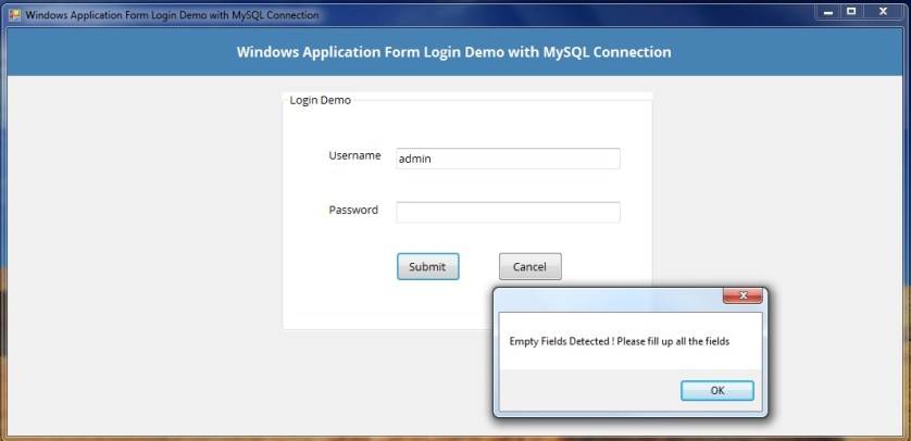 Windows Forms Application Login Demo with MySQL Connection on abstract window toolkit, asp.net, code access security, component object model, graphics device interface, application chart, windows api, common language runtime, visual basic .net, application menu, windows presentation foundation, windows communication foundation, application paper, microsoft visual studio express,