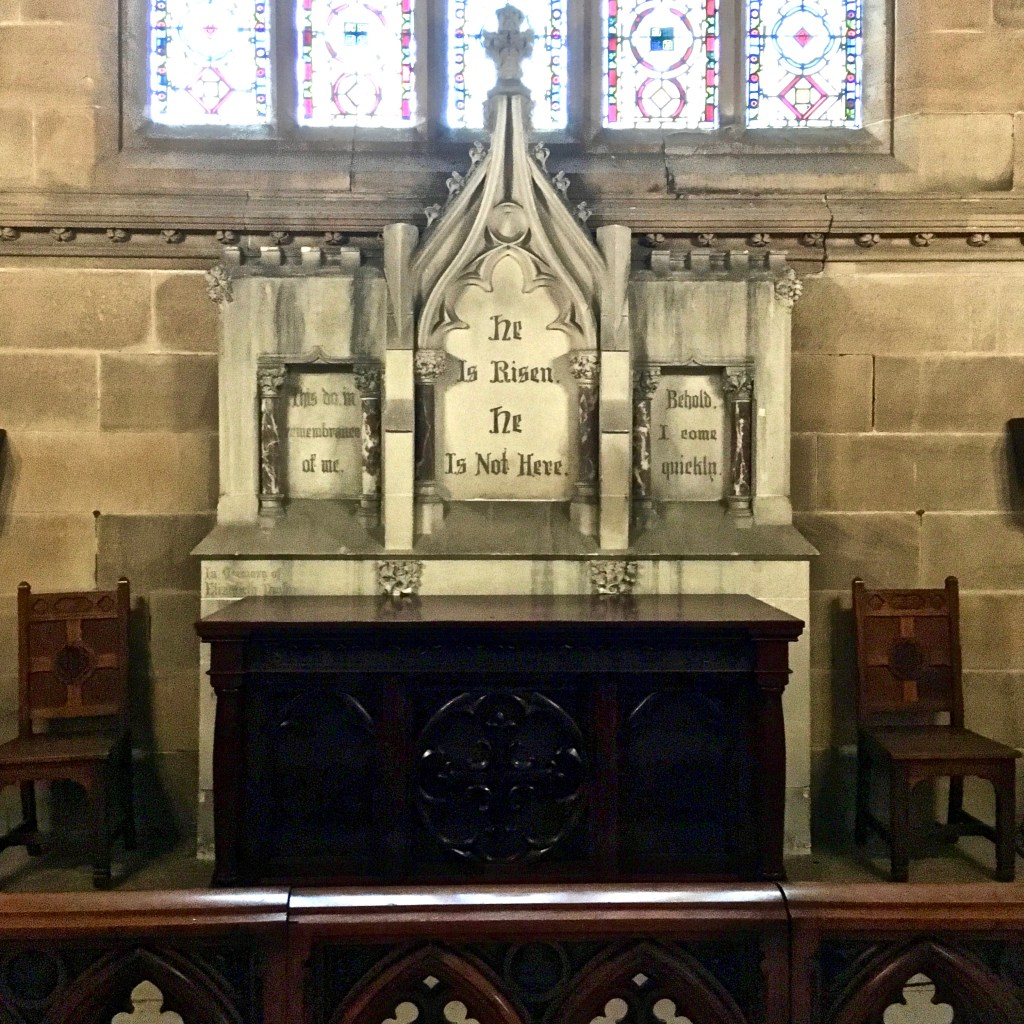 Inscription behind table in St Stephens Anglican Church Newtown