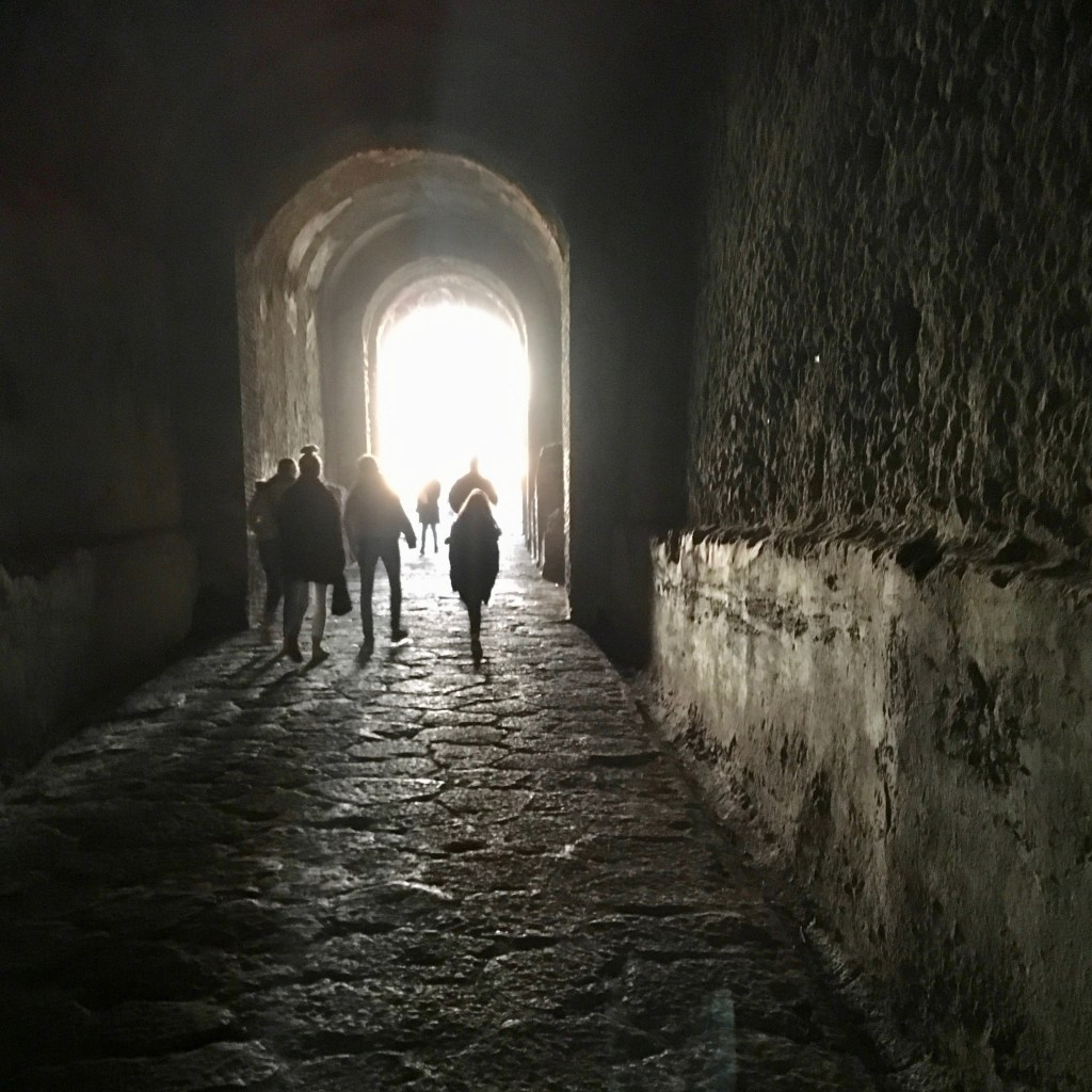 Dark tunnel coming out of the Amphitheatre, Pompeii
