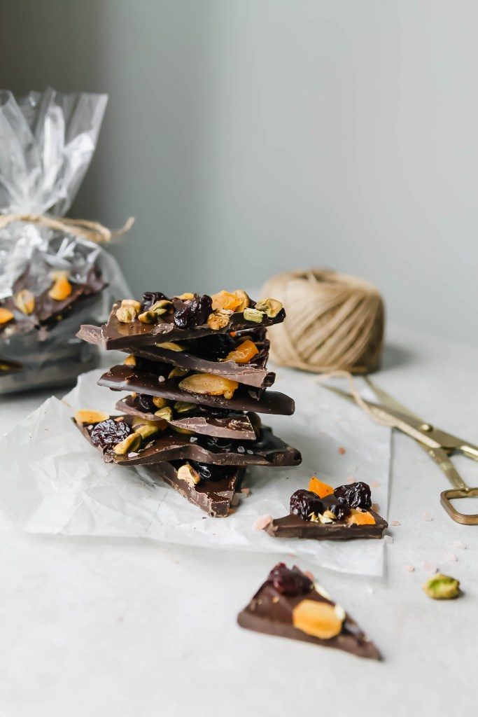 Dark Chocolate Bark with cherries, pistachios, apricots, and pink salt