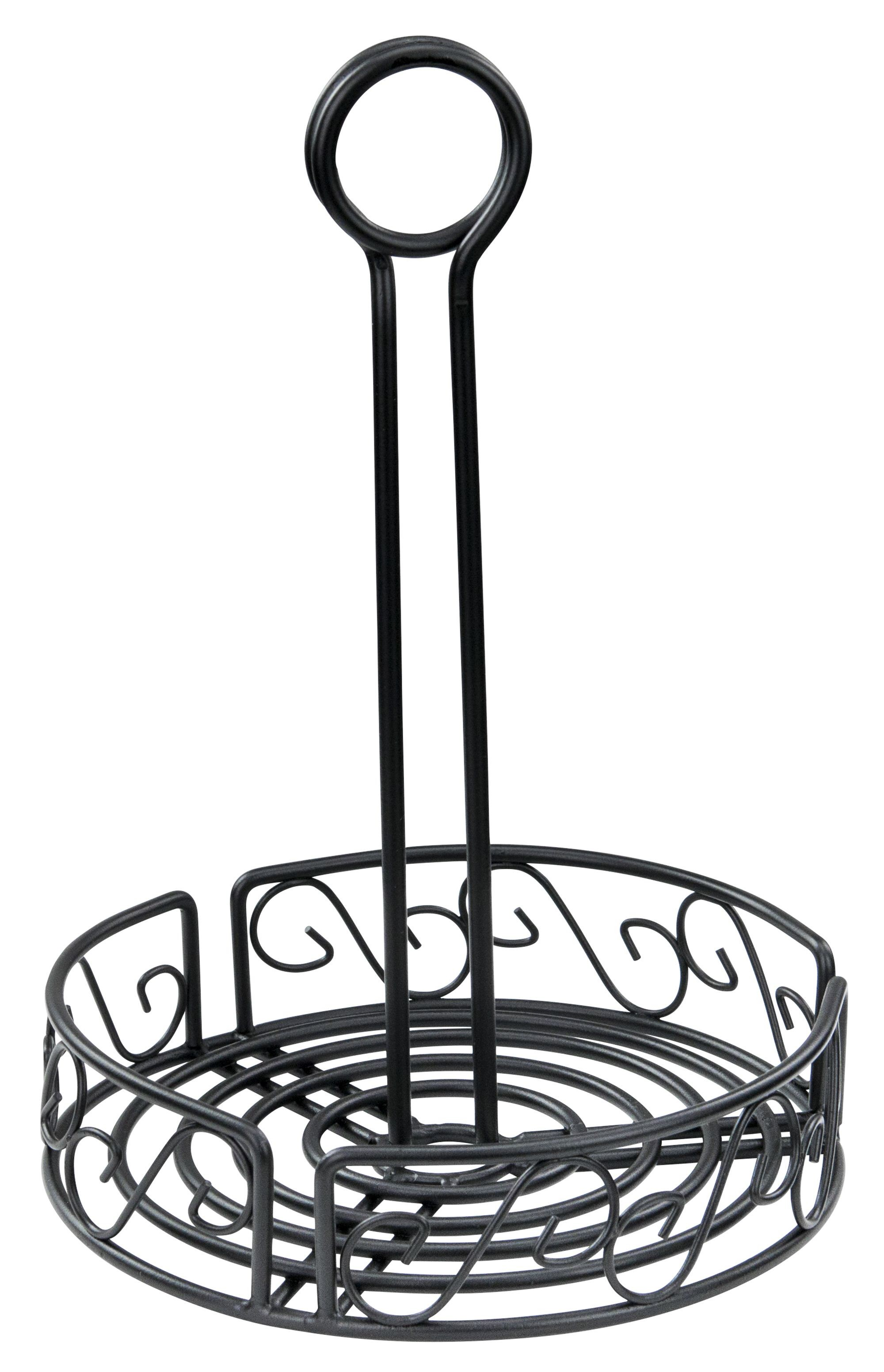 Winco Wbkh 6r Round Black Wire Condiment Caddy 6 1 4 X 9