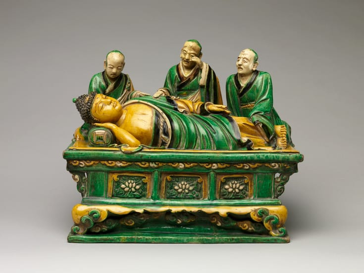 Stoneware sculpture of the Buddha dying. By Qiao Bin.