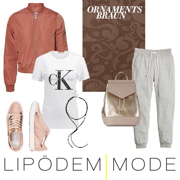 outfit ornaments braun medi muster moodboard lipödem mode lipoedem