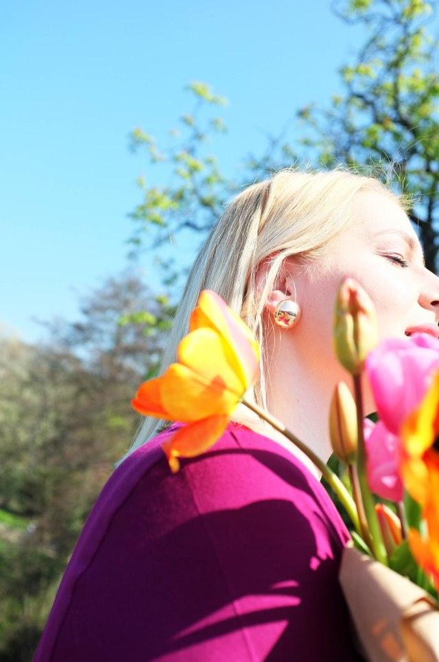 lipoedem mode outfit magenta medi frühling tulpen color blocking plus size curvy