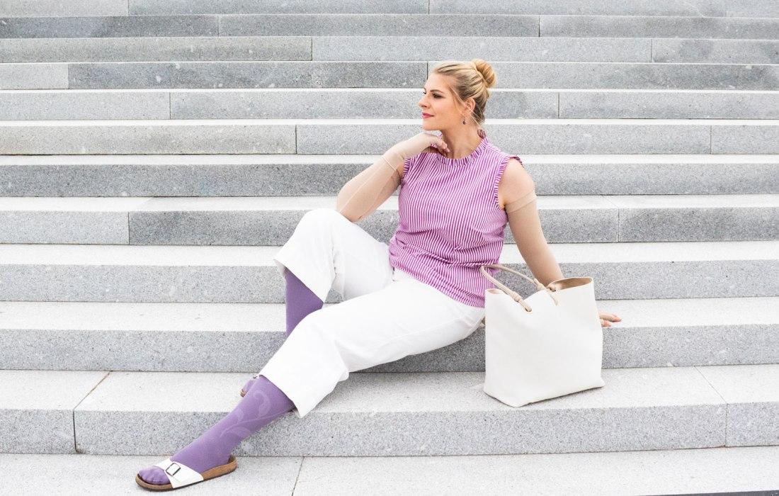 lipoedem mode lila medi kompression mediven 550 lymphoedem outfit mode plus size blogger caroline sprott