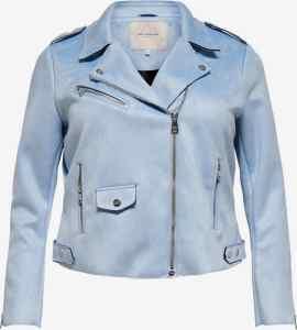 blaue biker jacke plus size