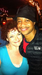 Apropos of nothing, Roberta with Cuba Gooding Jr. after the party