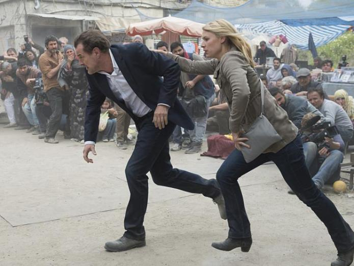 Homeland, The Tradition of Hospitality, Carrie and During running for cover