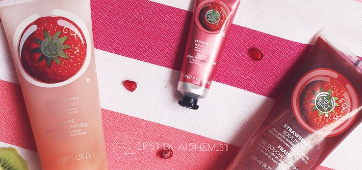 The Body Shop Strawberry Collection Range Body Polish Sorbet Hand Cream Skin Care Review