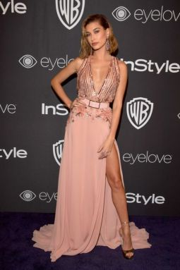 Hailey Baldwin in Elie Saab; Best Dressed Golden Globes 2017