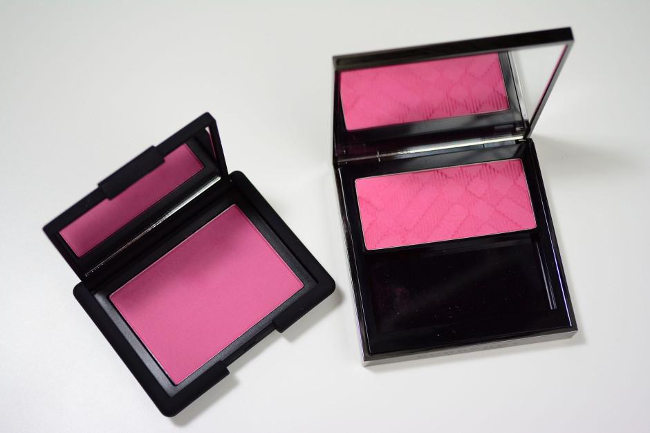 NARS 413blkr blush vs Burberry Coral Pink