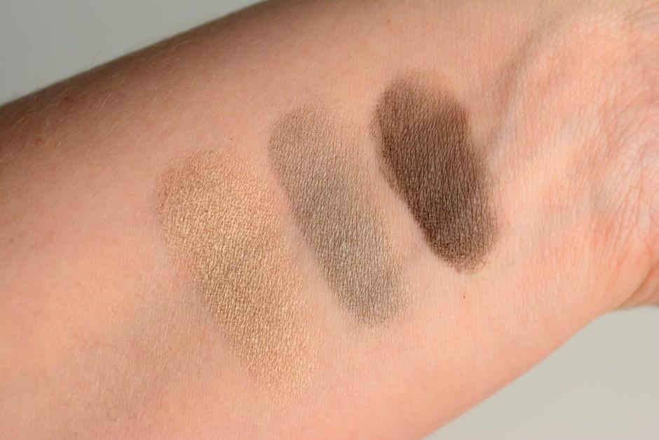 Burberry Eyeshadow Swatches - Pale Barley, Storm Grey, Dark Sable
