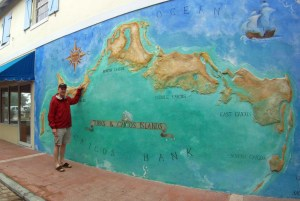 I point out our location in Turks and Caicos.