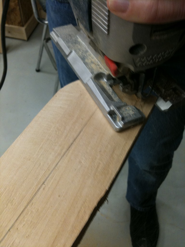 Rounding one end with the jig saw.