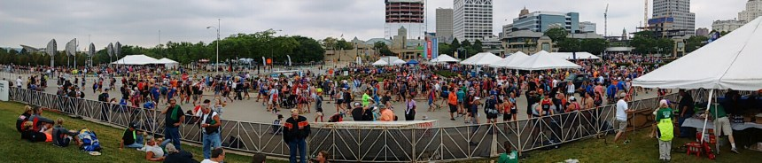 Large crowds of athletes, volunteers and spectators gathered at the Milwaukee lakefront for the USAT national championships.