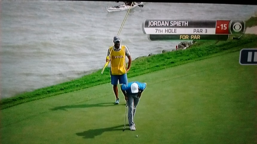 Here I am on national TV helping Jordan Spieth line up his putt. That's me in the kayak, BTW.