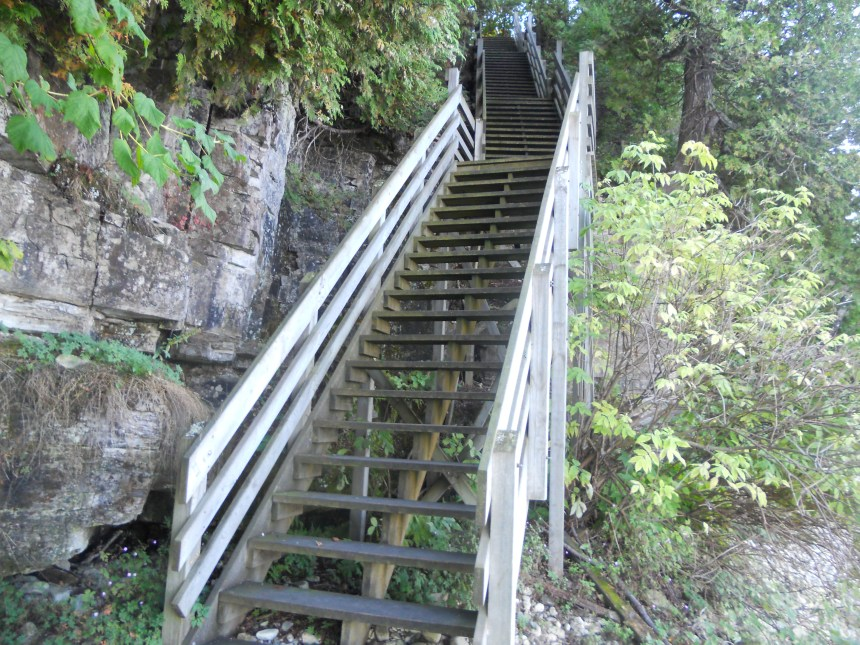The wood staircase leads from the north shore of Rock Island to the Pottawatomie Lighthouse.