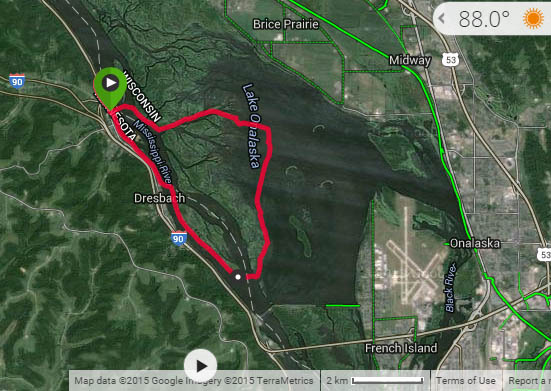 The GPS trail of our paddle shows us launching from Dakota, MN, heading east across the shipping channel, veering south until we could find a return route to the shipping channel, and then heading north to return to our launch site. Distance: 9.7 miles.
