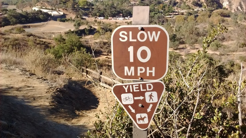Signs remind you who is supposed to yield to whom on the steep trails.