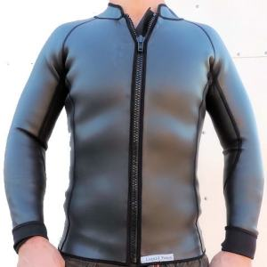 men's 2mm smooth skin wetsuit jacket, front zip, long sleeve