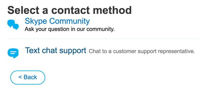 Secondo passaggio: selezionare Text Chat Support