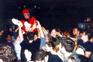 MCB gets a lift at a Cornell University frat party (April 2000).