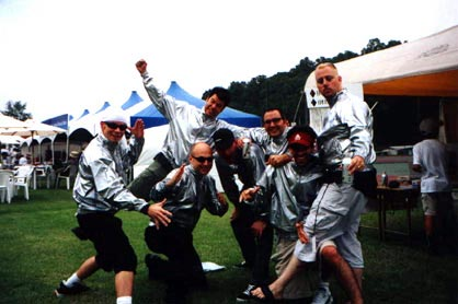 They gave us these cool jackets in Madarao, and we just had to try them on.