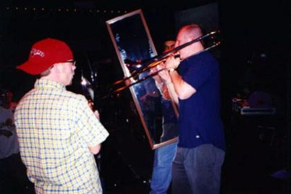 Johnny Showtime, blowing hard and getting a good look at himself. (Tralf, Buffalo, N.Y., April 2000.)