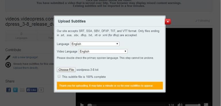 Amara Upload Subtitles Confirmation Message