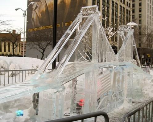 intricate Ambassador Bridge ice sculpture.