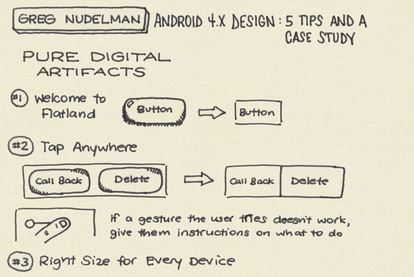 Android 4.x design 5 tips sketchnotes: Go flat