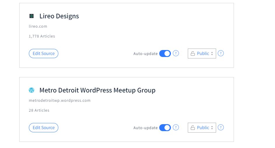 Authory source settings for Lireo Designs and Metro Detroit WordPress Meetup Group showing number of articles, auto-update status, and visibility status.