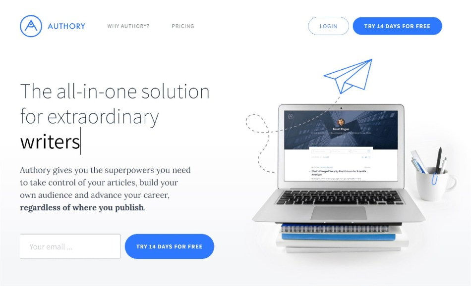 Authory home page