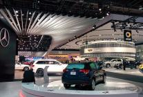 NAIAS autoshow floor, with Cadillac exhibit in the background