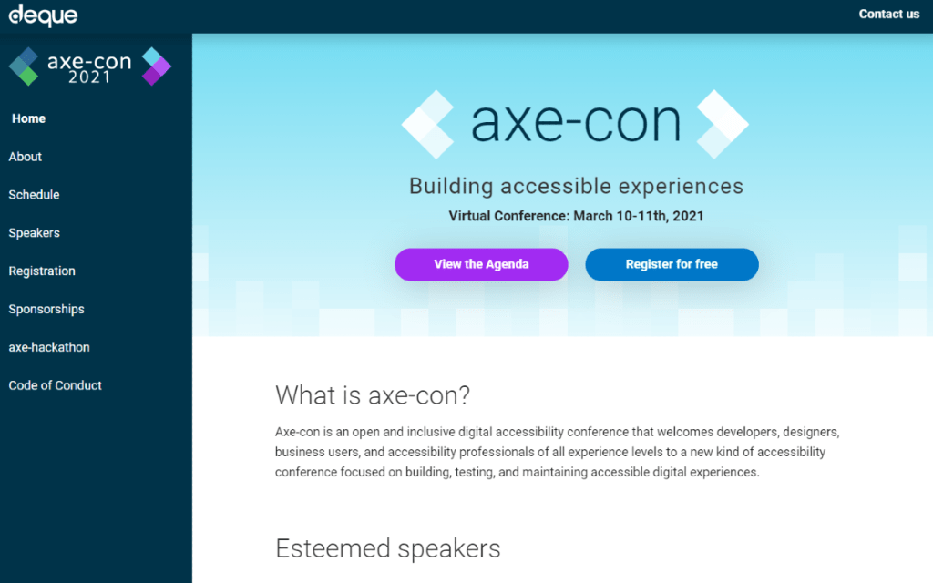 Axe-con building accessible experiences, virtual conference: March 10-11, 2021.