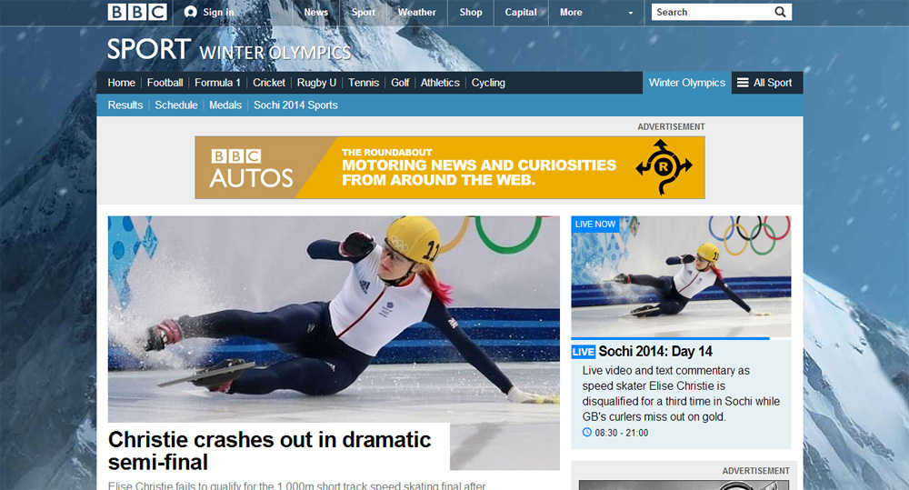 BBC Sochi Winter Olympics home page