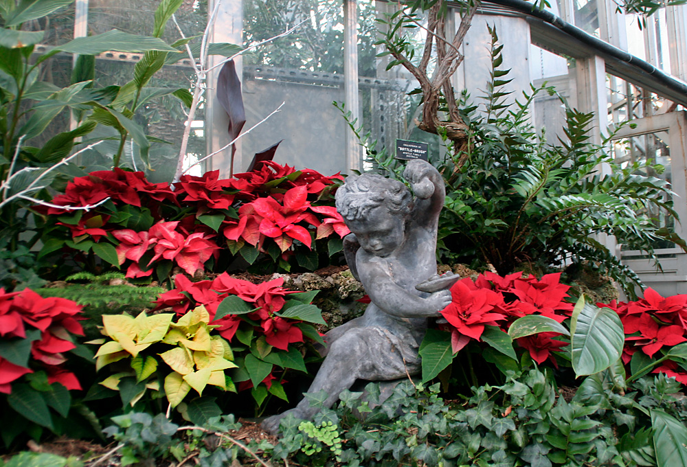 Statue in the Belle Isle Conservatory show room surrounded by poinsettias