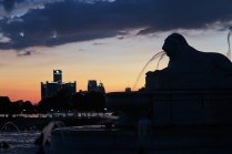 James Scott Fountain at dusk, downtown Detroit skyscrapers in the background
