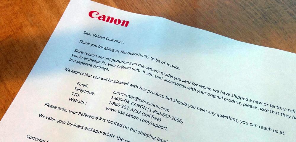 Dear Canon valued customer letter