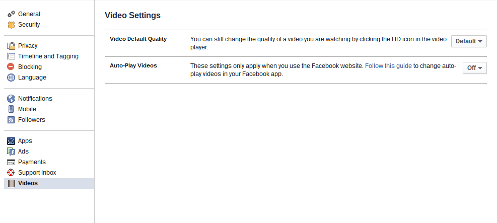 Chrome browser Facebook video settings options