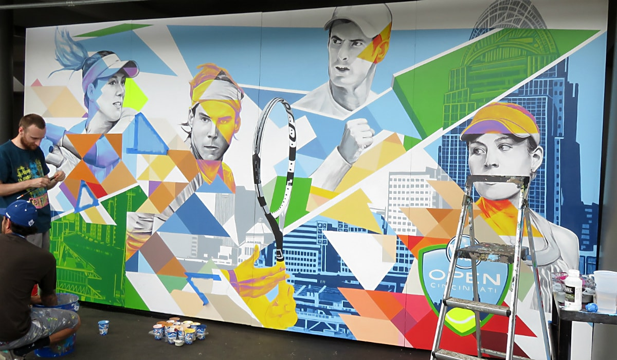day 5 of the 2016 Western & Southern Open mural: Gabi Muguruza, Rafa Nadal, Andy Murray, Angelique Kerber