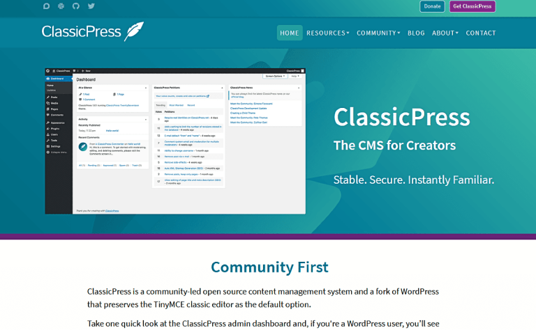 Screenshot of ClassicPress home page.