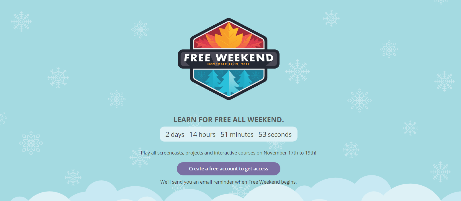Code School Free Weekend November 17 to 19, 2017.