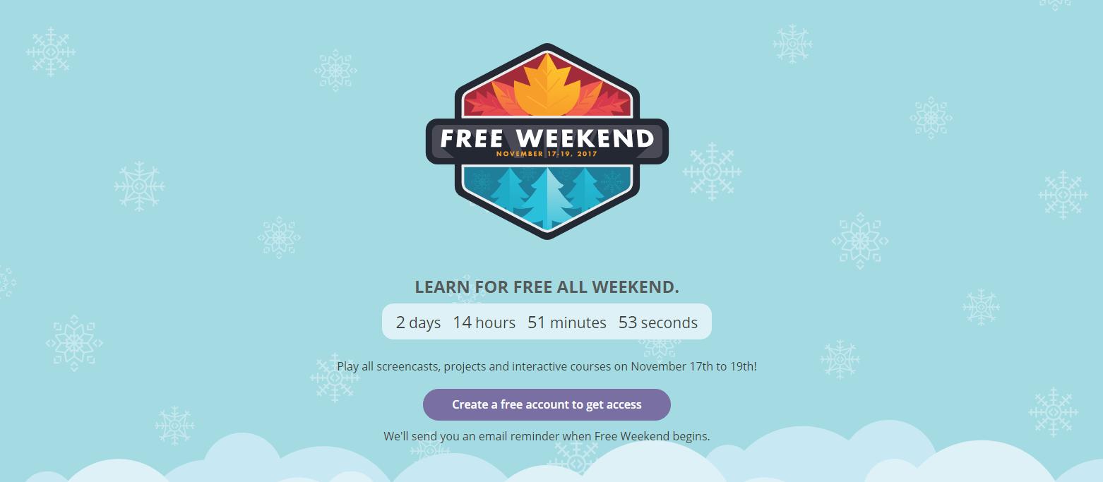 Code School Free Weekend November 17 to 19, 2017.